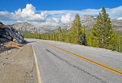 Driving in the Sierra Nevada Mountains, California Stock Photos