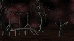 angel of death - spooky night background with gallows, crows and creepy trees - stock illustration