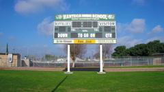 Scoreboard at Manteca High School Stock Footage