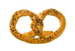 Pretzel topped with caraway and salt Stock Photos