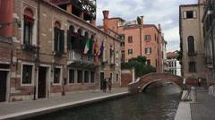 Venice Italy neighborhood walk canal bridge 4K 018 Stock Footage