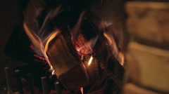 Wood-burning Fireplace Stock Footage