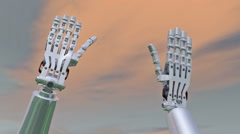 """Two robot hands come together in """"high-five"""", 3D animation Stock Footage"""