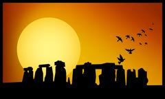 stonehenge twilight - stock illustration