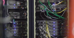 Rack of equipment in a Television station HD - stock footage