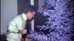 Rock and Roll Christmas Tree Dance Vintage Film Retro Film Home Movie 8033 Stock Footage