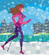 Nordic walking - active woman exercising in winter Stock Illustration