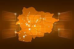 Andorra map world map news communication yellow gold Stock Illustration