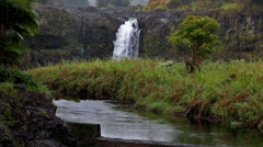 Waterfall in Hawaii closer shot Stock Footage
