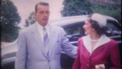 1533 - well dressed couple from the early 1950's - vintage film home movie - stock footage