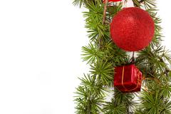christmas decoration with green pine or fir and red round ornament and one gi - stock photo