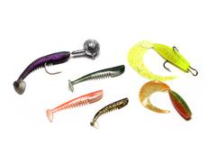 Silicone bait for fishing on an isolated white background Stock Photos