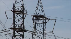 Ukrainian Nuclear Power Plant,  electric pole. Stock Footage