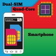 Dual SIM smartphone with quad-core processor - stock illustration