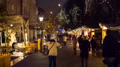 Busy stalls district around Christmas at night Stock Footage