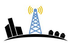 Illustration of wireless signal of internet into houses in city Stock Illustration