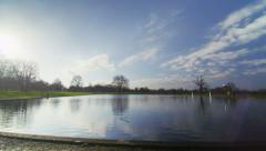 Camera moves from sky to a large pond on a bright day Stock Footage