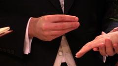 Wedding ring. Catholic ritual at church Stock Footage