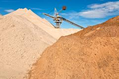 Conveyor on site at gravel pit Stock Photos
