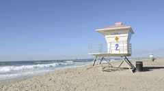 Lifeguard tower at beach Stock Footage