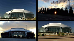 Split Screen video showing Cowboys Stadium Arlington Stock Footage