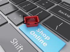 3d shopping basket on computer keyboard. online shopping concept. Stock Illustration