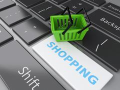 3d shopping basket on computer keyboard. online shopping concept. - stock illustration