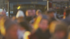 Blurred crowds of pedestrians walking in slow motion - stock footage