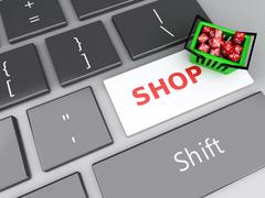 3d shopping basket  with red cubes on computer keyboard. online shopping conc - stock illustration