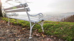 Empty bench on hill Stock Footage