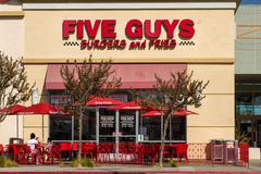 Stock Photo of five guys restaurant exterior