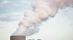 Steaming Cooling Tower In The Evening Stock Footage