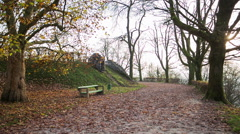 Empty park with sunset and leaves on ground Stock Footage
