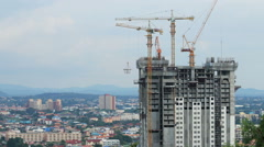 Time lapse tower crane and building working under construction. Stock Footage