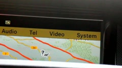 GPS system in a car moving on the highway Stock Footage