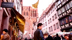 Full length Strasbourg Cathedral in  Christmas Stock Footage