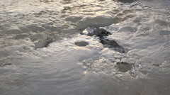 Meltwater Flowing Over and through Crystalline Jagged Ice Rotation Slide HD - stock footage
