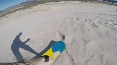 First Person View of sand boarding Stock Footage