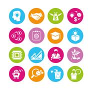 Business startup and entrepreneur icons Stock Illustration