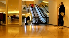 Escalator in a big department store Stock Footage