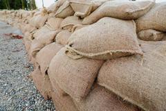 Sandbag Wall - stock photo