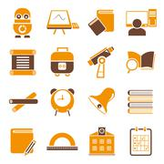 School and education icons, orange icons Piirros