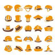 hat icons, orange icons - stock illustration