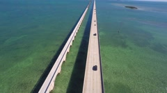 florida keys 7 mile bridge 2 4k - stock footage