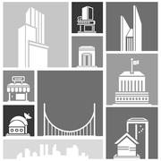 Stock Illustration of silhouette city, building