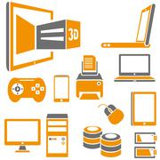 Electronics device and media icons Stock Illustration