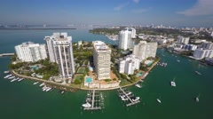 Belle isle 2 miami beach drone aerial 4k Stock Footage