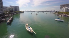 Miami beach waterfront and sail boats Stock Footage