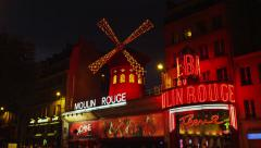 The Moulin Rouge Cabaret at Night 4K Stock Video Footage - stock footage