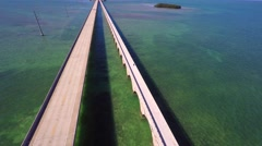 Stock Video Footage of florida keys new bridge and old aerial 2 4k